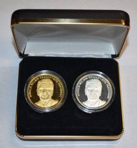 Westminster Mint Ronald Wilson Reagan Commemorative Set - 2 Commemorative Coins - .999 Fine Silver and .999 Fine Silver 24K gold plated $164.95